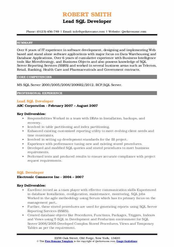 Lead SQL Developer Resume Example