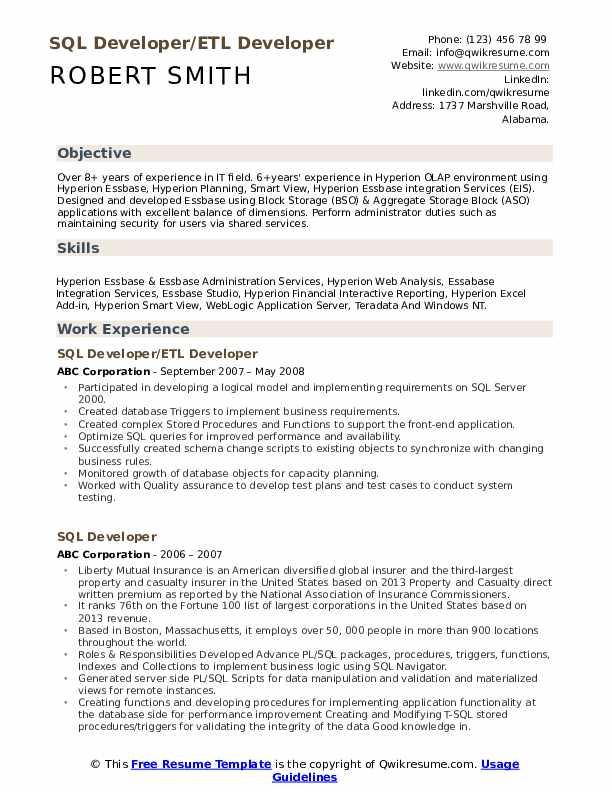 SQL Developer/ETL Developer Resume Template