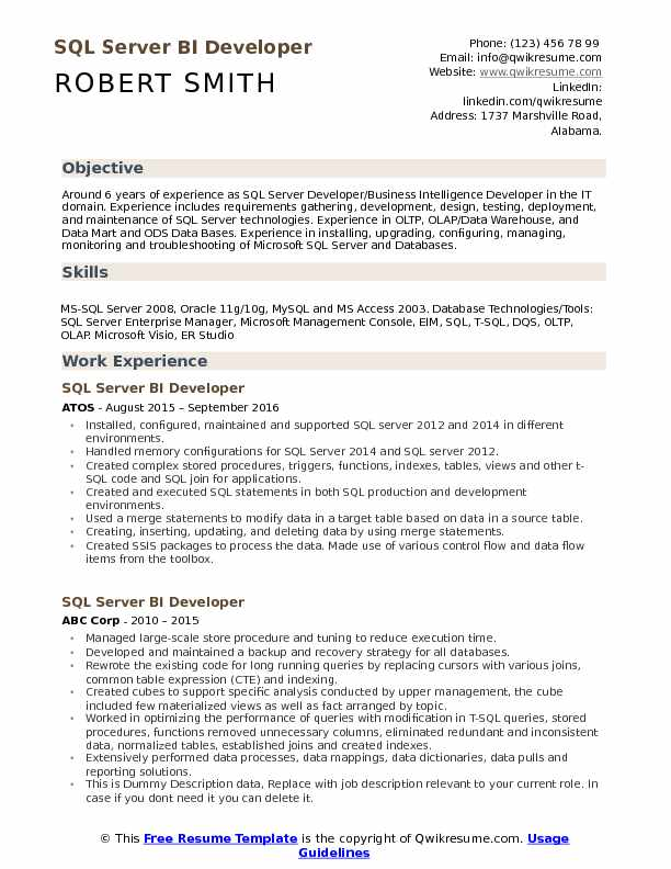 SQL Server BI Developer Resume Sample
