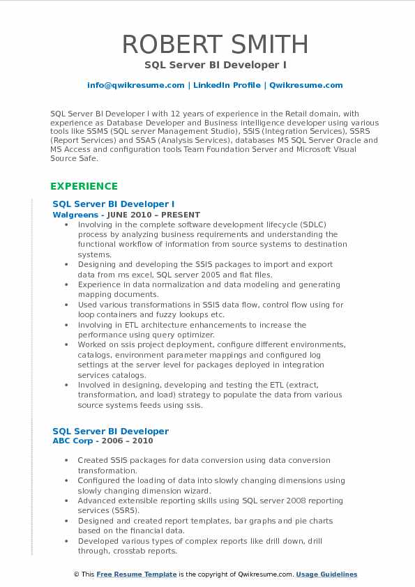 SQL Server BI Developer I Resume Sample