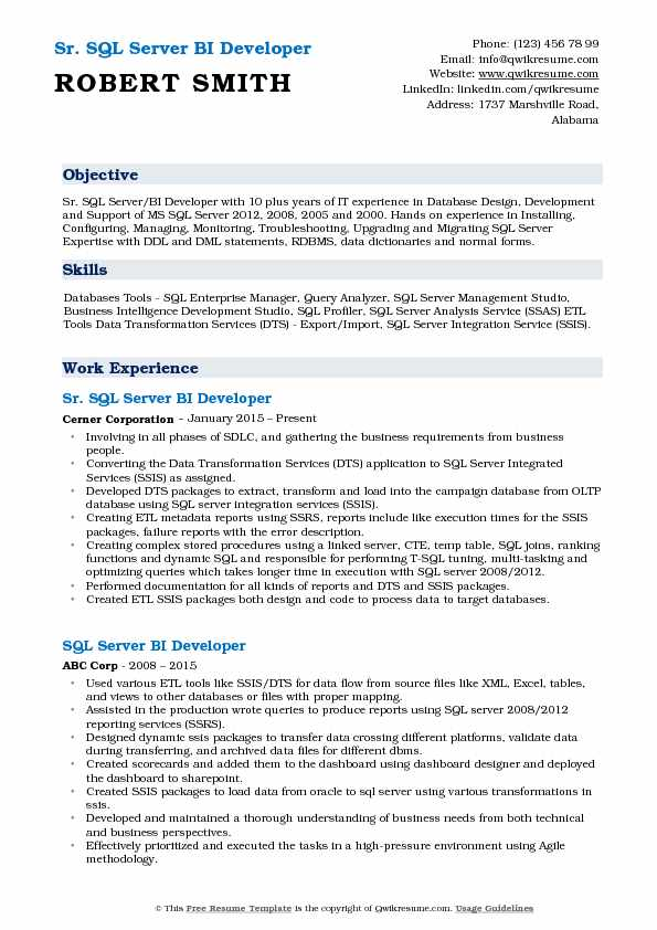Sr. SQL Server BI Developer Resume Model
