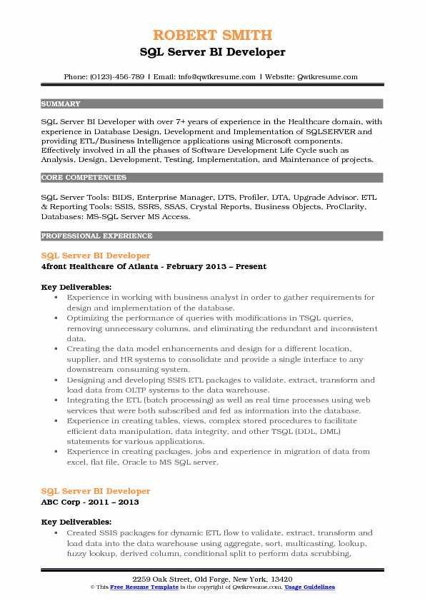 SQL Server BI Developer Resume Format