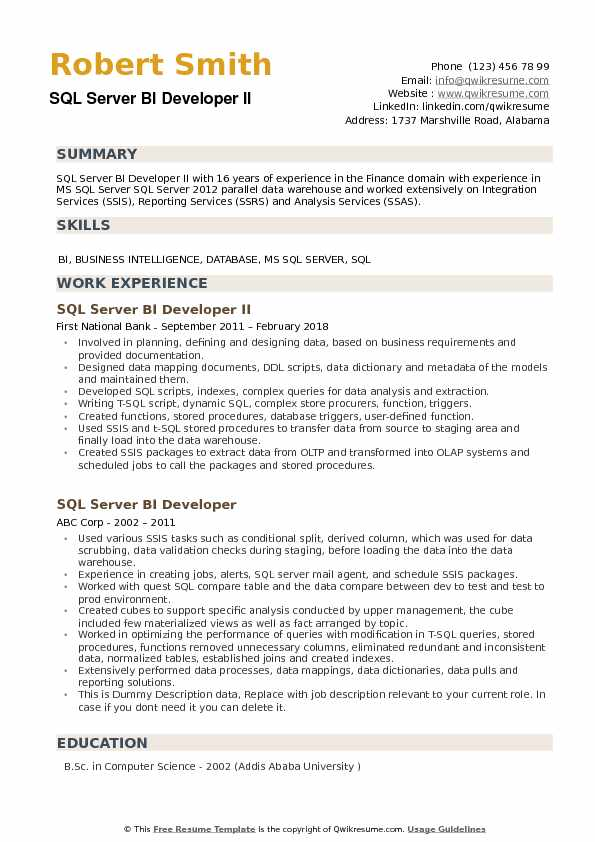 SQL Server BI Developer Resume example