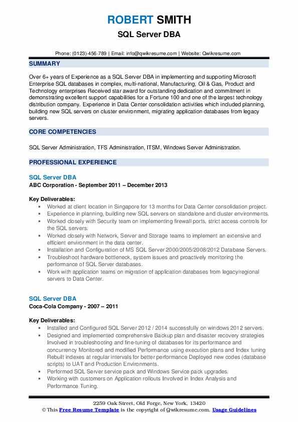 sql server dba resume samples