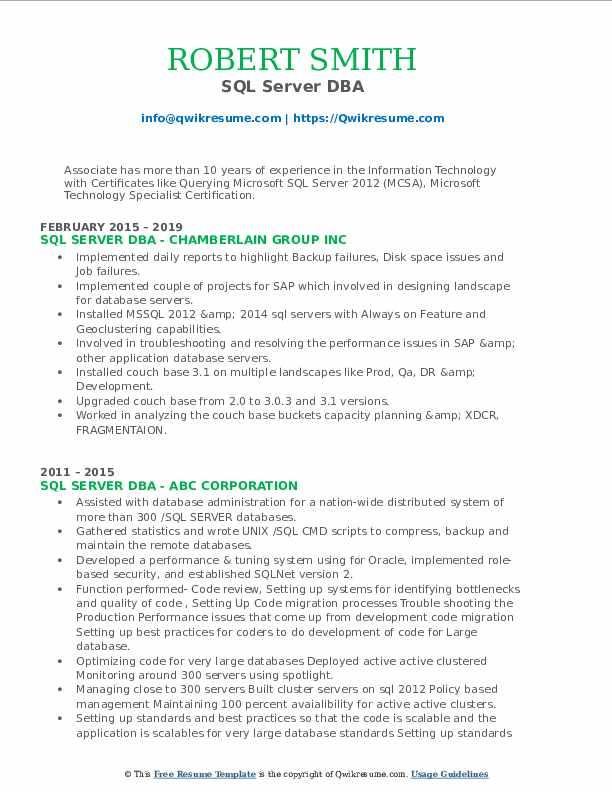 sql dba resume samples  qwikresume