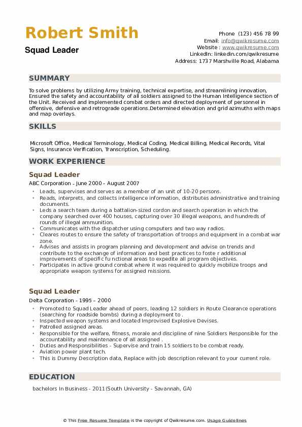 Squad Leader Resume example