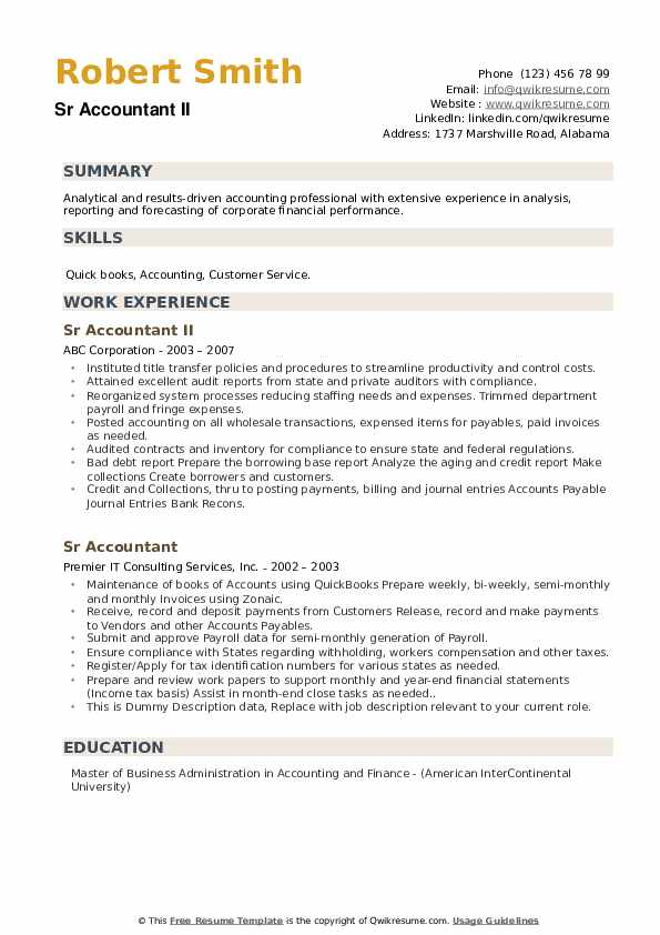 sr accountant resume samples