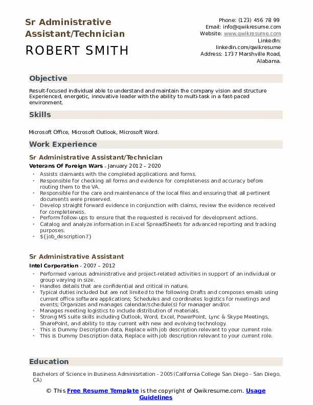 Sr Administrative Assistant Resume example