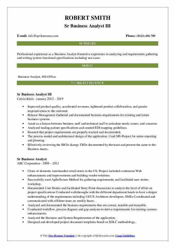 sr business analyst resume samples