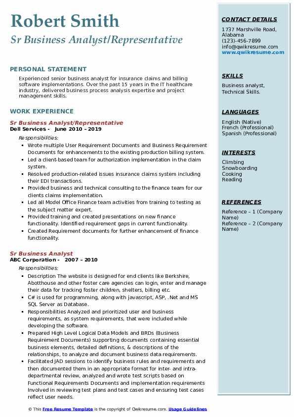 Sr Business Analyst Resume Samples | QwikResume