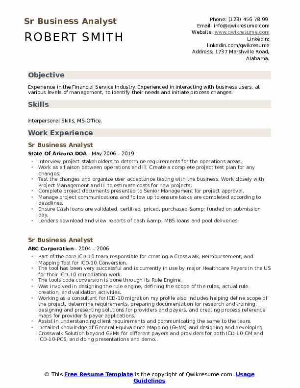 Sr Business Analyst Resume example