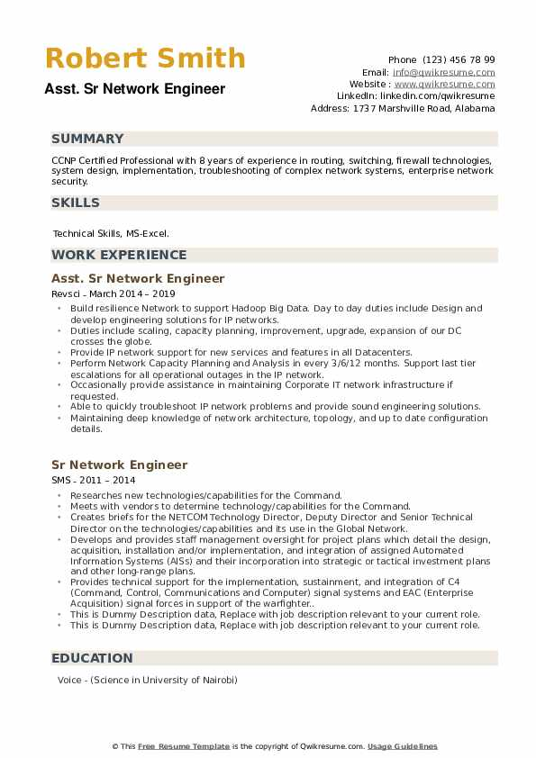 sr network engineer resume samples