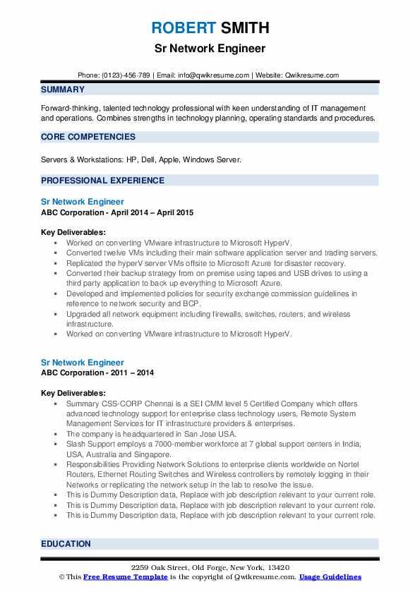 Sr Network Engineer Resume example