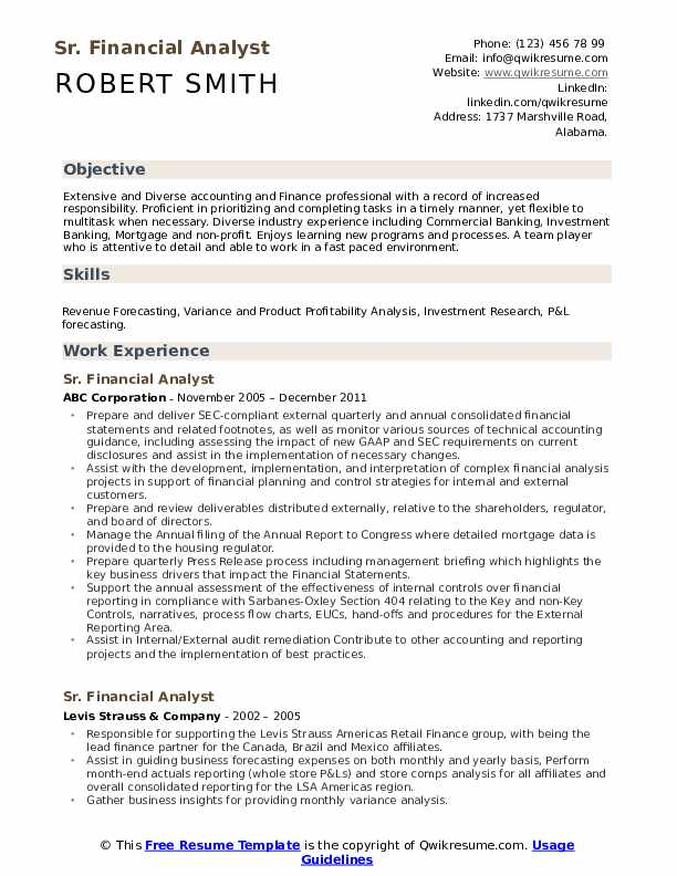 sr  financial analyst resume samples
