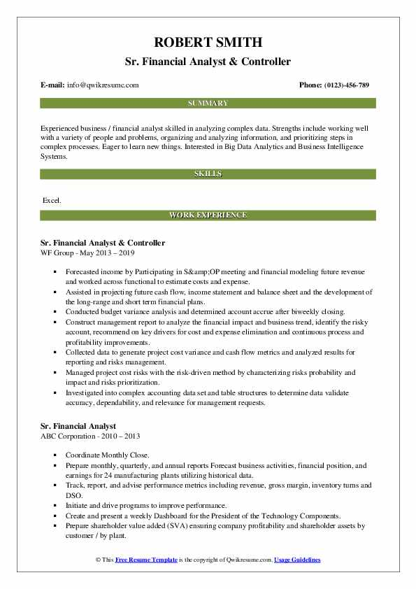 Sr. Financial Analyst & Controller Resume Example