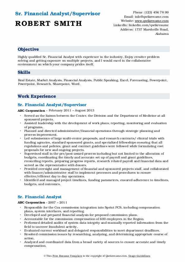 Sr. Financial Analyst/Supervisor Resume Format