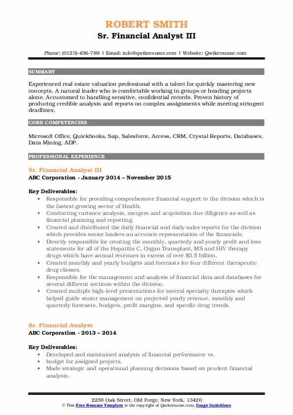 Sr. Financial Analyst III Resume Format