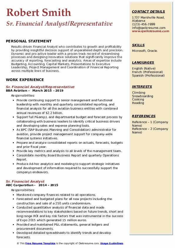 Sr. Financial Analyst/Representative Resume Template