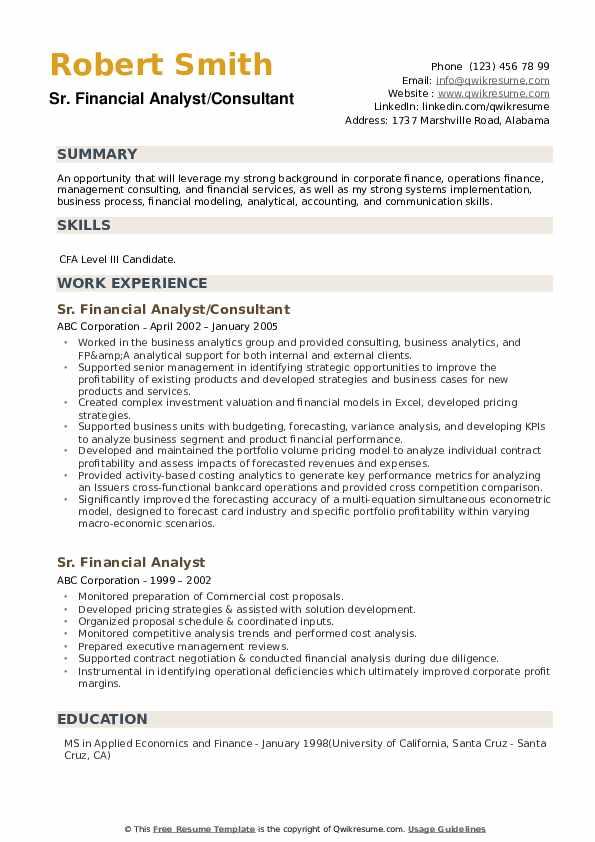 Sr. Financial Analyst/Consultant Resume Model