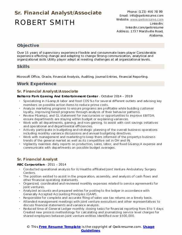 Sr. Financial Analyst/Associate Resume Sample