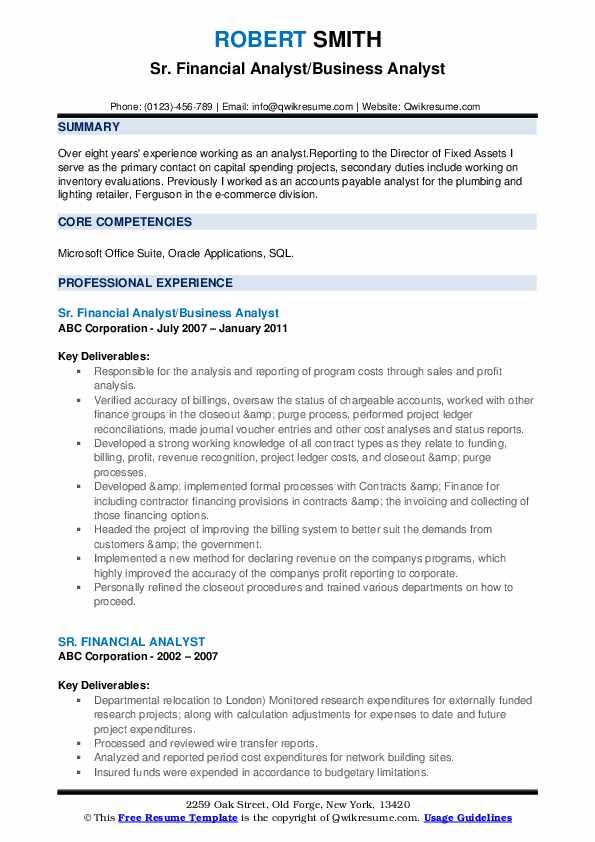 Sr. Financial Analyst/Business Analyst Resume Sample