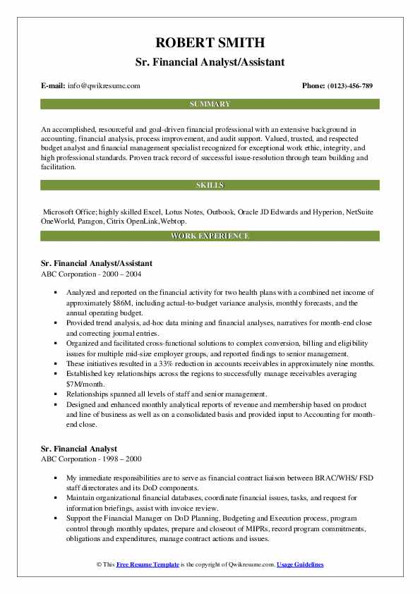 Sr. Financial Analyst/Assistant Resume Template
