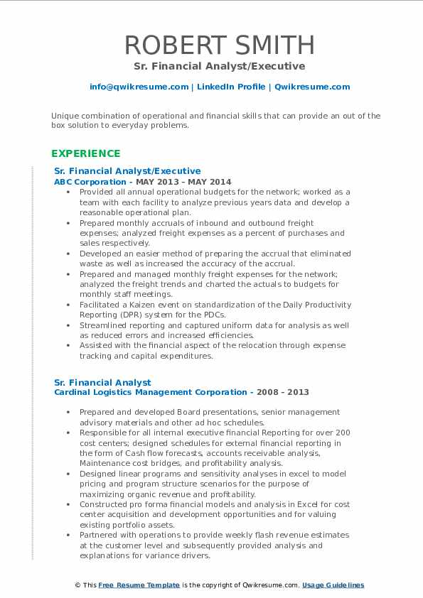 Sr. Financial Analyst/Executive Resume Format
