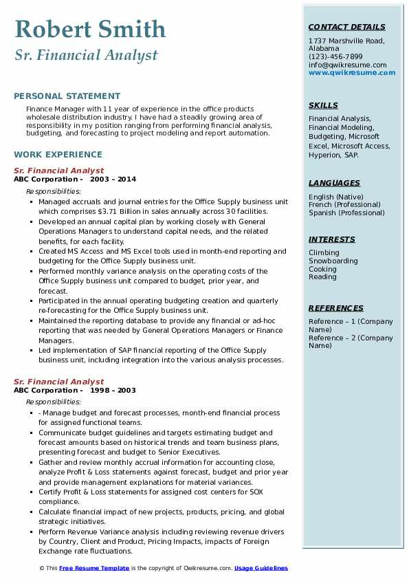 Sr. Financial Analyst Resume example