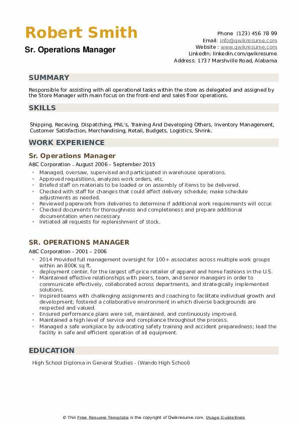Sr. Operations Manager Resume example