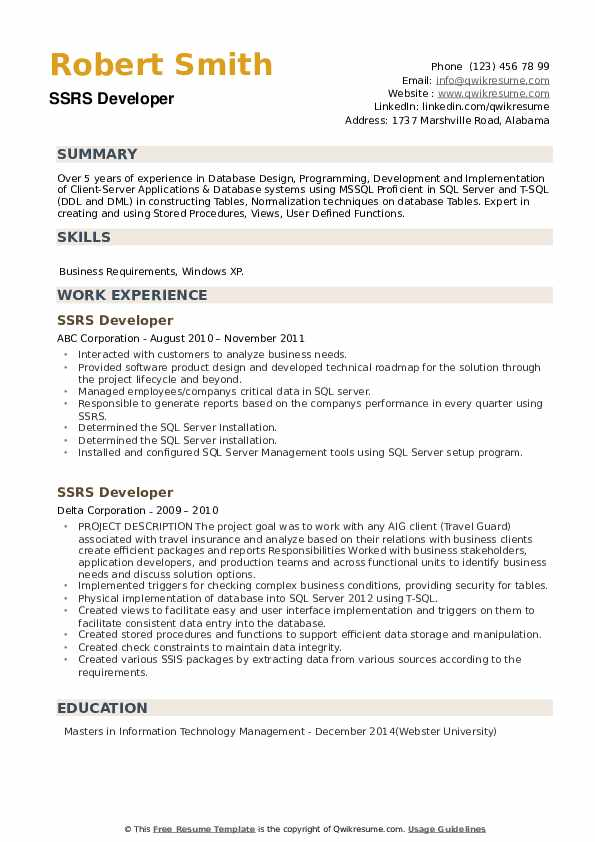 SSRS Developer Resume example