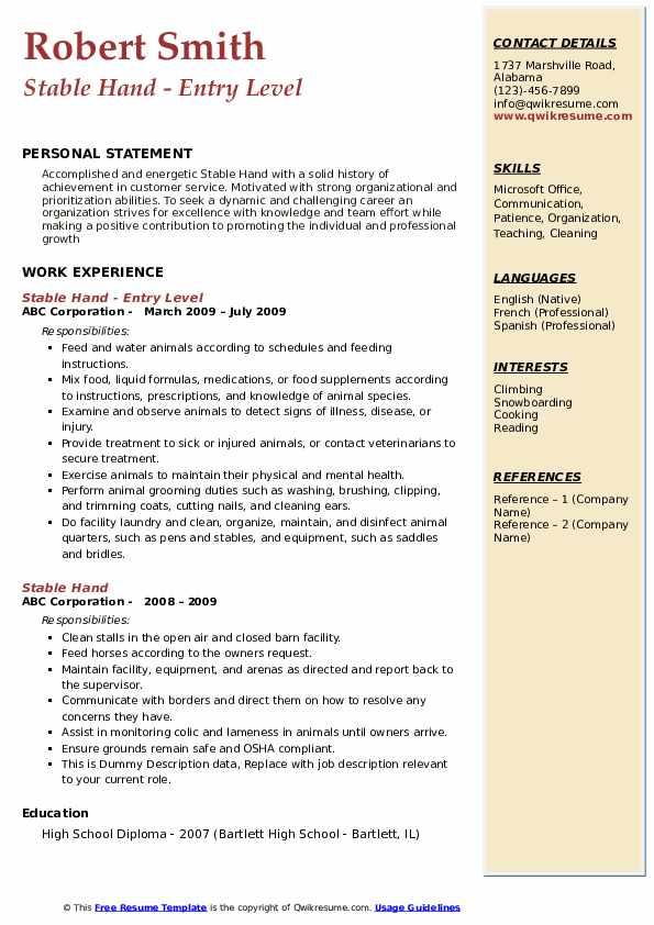 Stable Hand Resume Samples Qwikresume