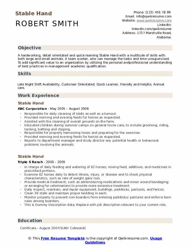 Stable Hand Resume example