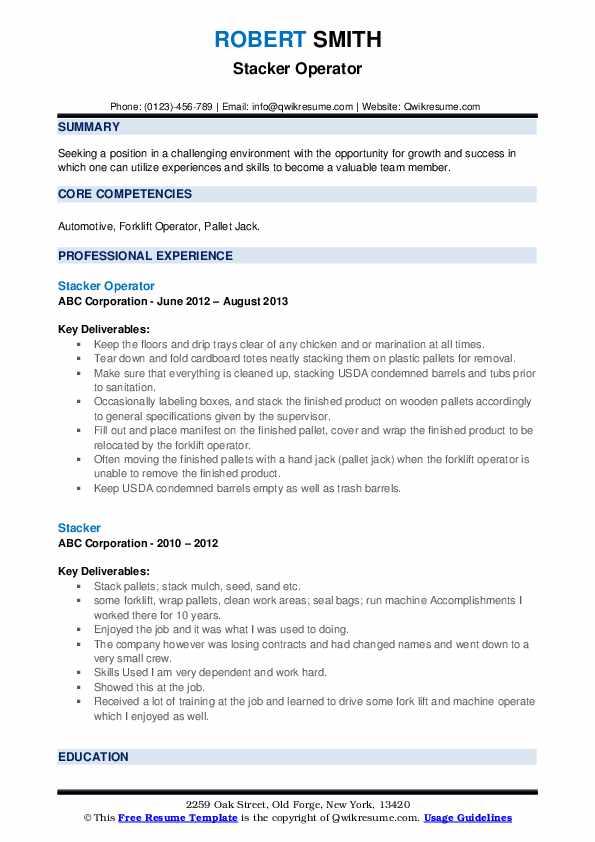 Stacker Operator Resume Model