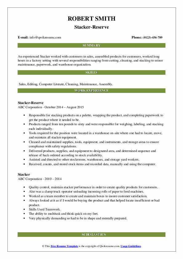 Stacker-Reserve Resume Model