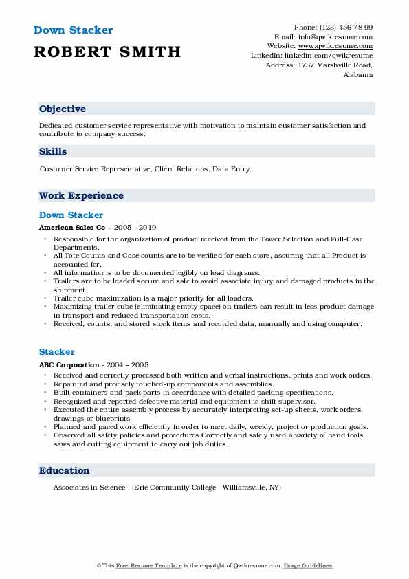 Down Stacker Resume Template