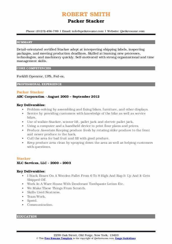 Packer Stacker Resume Example
