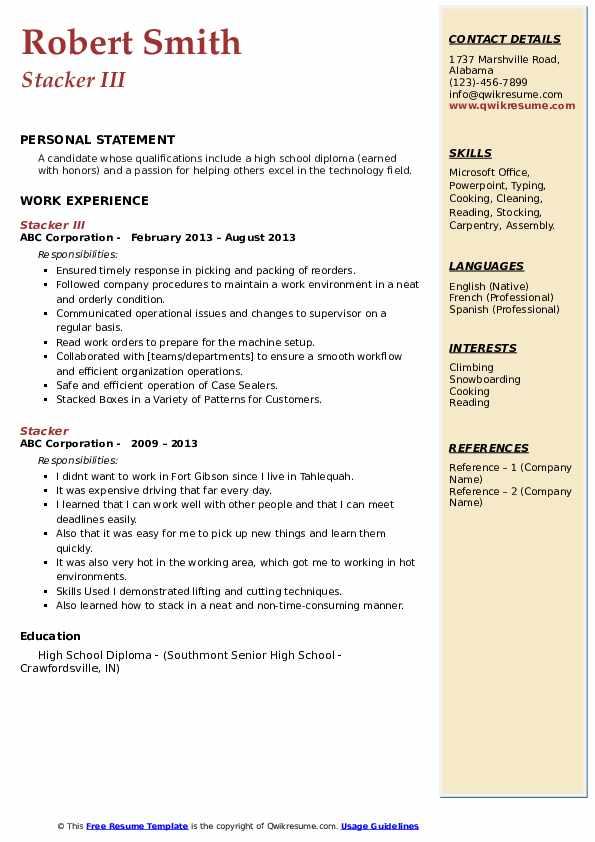Stacker III Resume Format