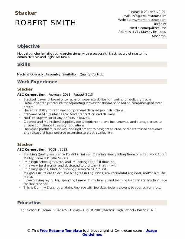 Stacker Resume example