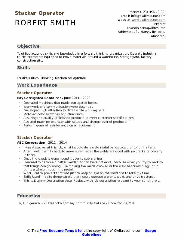Stacker Operator Resume example