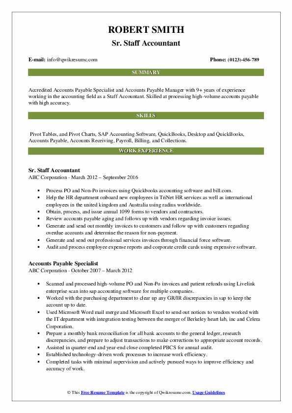 staff accountant resume samples  qwikresume