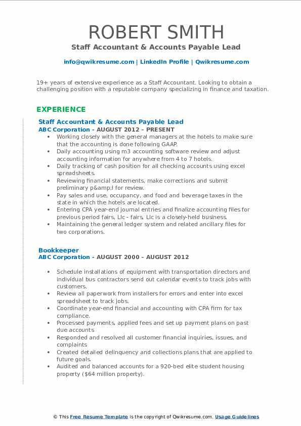 Staff Accountant & Accounts Payable Lead Resume Example