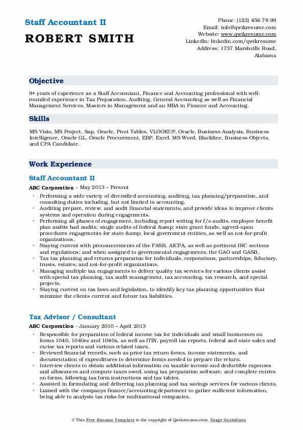 Staff Accountant Resume Samples | QwikResume