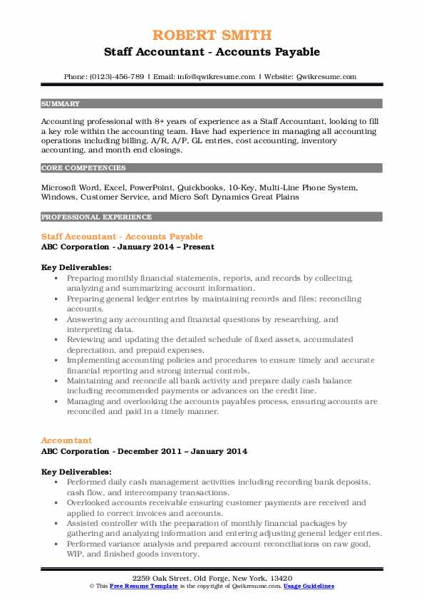 Staff Accountant - Accounts Payable Resume Format