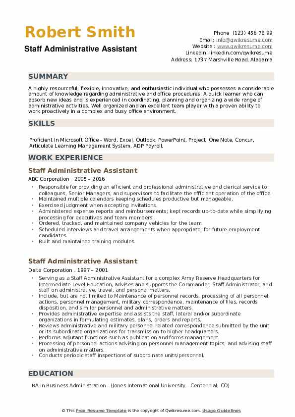 Staff Administrative Assistant Resume example