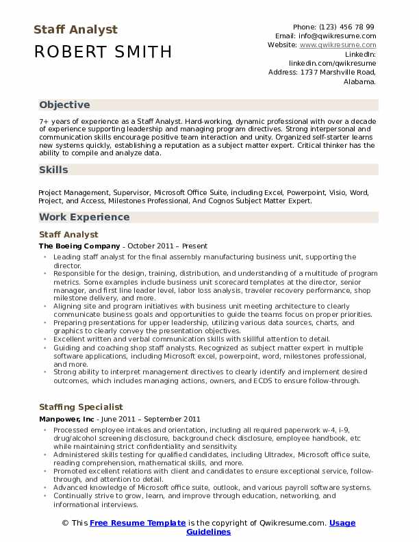 Staff Analyst Resume Format