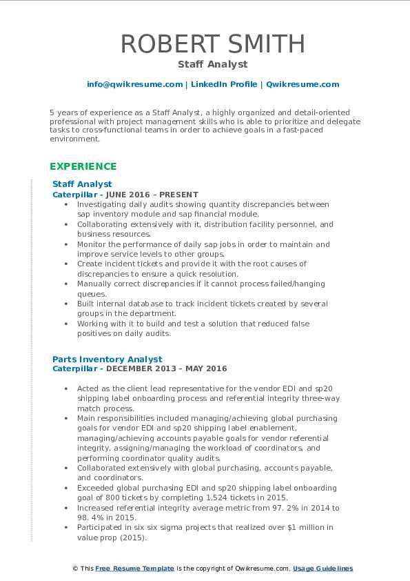 Staff Analyst Resume Sample