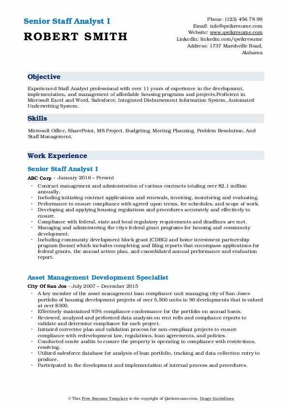 Senior Staff Analyst I Resume Format