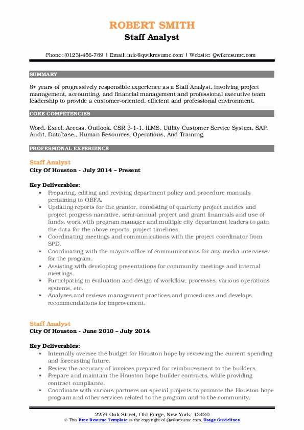 Staff Analyst Resume Format