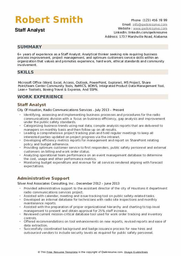 Staff Analyst Resume Samples | QwikResume