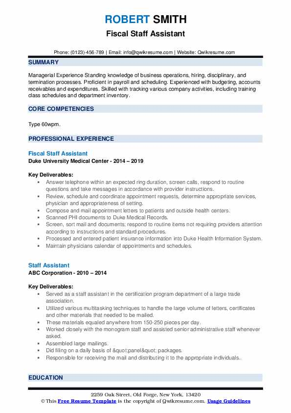 Fiscal Staff Assistant Resume Format